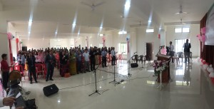 A section of the congregation present during the inauguration of the Evangel Fellowship Hall at the Evangel Mission Center in Pillangkatta near Guwahati